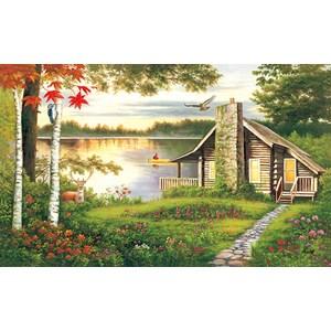 """Lafayette Puzzle Factory - """"Misty Lake Cottage"""" - 1000 pièces"""