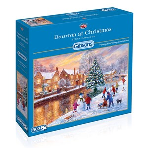 """Gibsons (G3088) - Terry Harrison: """"Bourton at Christmas"""" - 500 pièces"""