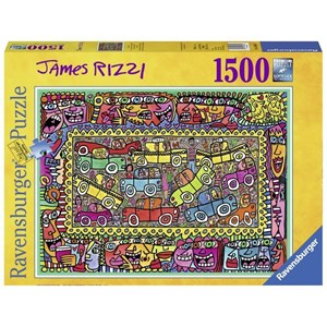 "Ravensburger (16356) - James Rizzi: ""We are on our way to your party"" - 1500 pièces"
