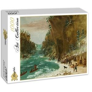 """Grafika (02225) - George Catlin: """"Campement de l'Expedition au-dessous des Chutes de Niagara. Le 20 janvier 1679, 1847"""" - 1000 pièces"""