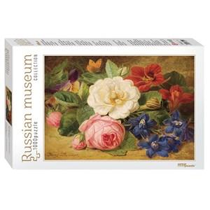"""Step Puzzle (79211) - Josef Launer: """"Bouquet of Flowers with a Snail"""" - 1000 pièces"""