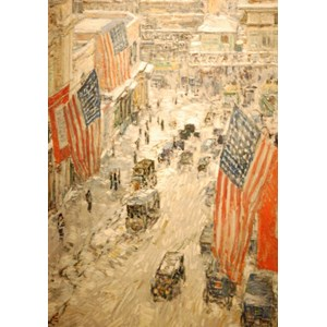 """Grafika (00268) - Childe Hassam: """"Flags on 57th Street, Winter, 1918"""" - 1000 pièces"""