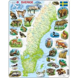 """Larsen (K6) - """"Carte de la Suède et ses Animaux (en Suédois)"""" - 71 pièces"""