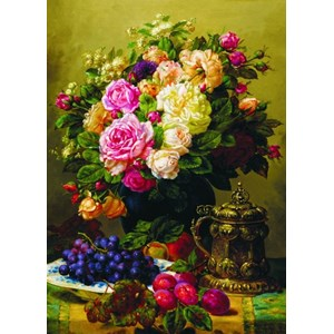 """Gold Puzzle (60904) - Jean-Baptiste Robie: """"Still Life with Roses, Grapes and Plums"""" - 1000 pièces"""