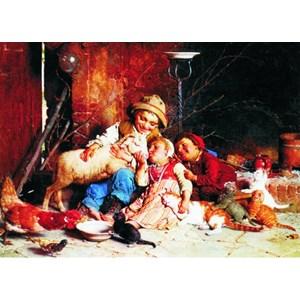 "Gold Puzzle (60270) - Gaetano Chierici: ""Farmyard Rascals"" - 1000 pièces"