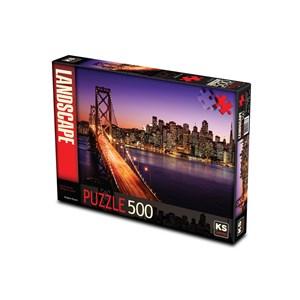 """KS Games (11376) - Brigitte Peyton: """"San Francisco Bridge at Sunset"""" - 500 pièces"""