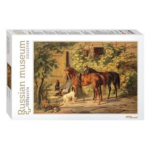 "Step Puzzle (79214) - Albrecht Adam: ""Horses at the Porch"" - 1000 pièces"