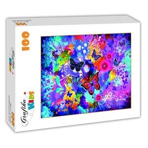 """Grafika Kids (02013) - """"Fleurs et Papillons Colorés"""" - 100 pièces"""