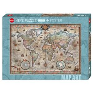 "Heye (29871) - Rajko Zigic: ""Retro World Map"" - 1000 pièces"
