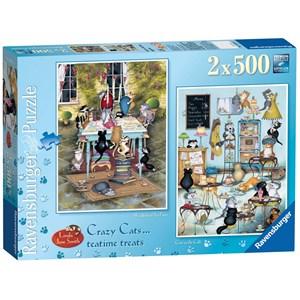"Ravensburger (14075) - Linda Jane Smith: ""Crazy Cats Tea Time Treats"" - 500 pièces"