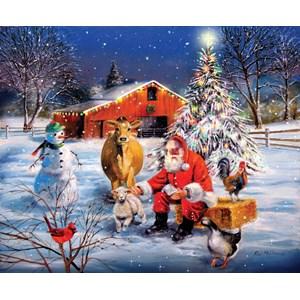 """SunsOut (37996) - R.J. McDonald: """"Santa at the Farm"""" - 300 pièces"""