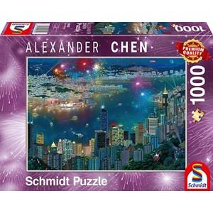 """Schmidt Spiele (59650) - Alexander Chen: """"Fireworks over Hong Kong"""" - 1000 pièces"""
