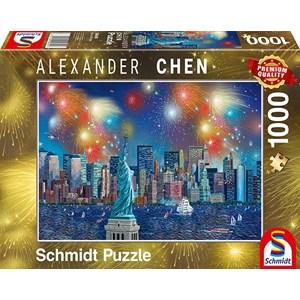 "Schmidt Spiele (59649) - Alexander Chen: ""Statue of Liberty with Fireworks"" - 1000 pièces"