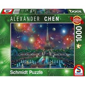 """Schmidt Spiele (59651) - Alexander Chen: """"Fireworks at the Eiffel Tower"""" - 1000 pièces"""