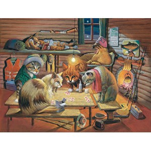 "SunsOut (28005) - Bryan Moon: ""Cats Playing Poker"" - 500 pièces"