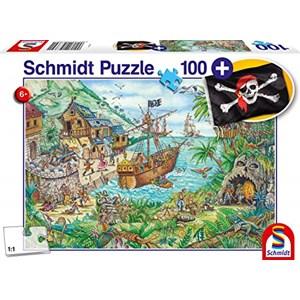"""Schmidt Spiele (56330) - """"Dans la baie aux pirates, avec drapeau"""" - 100 pièces"""