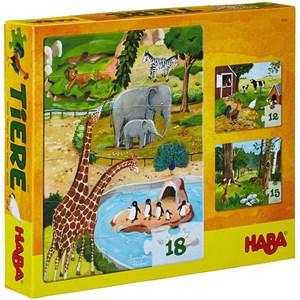 """HABA (4960) - """"Animals"""" - 12 15 18 pièces"""
