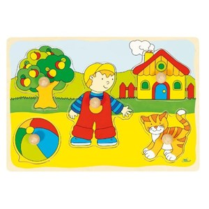 """Goki (57858) - """"GoKi Wooden Cat and House Puzzle"""" - 5 pièces"""