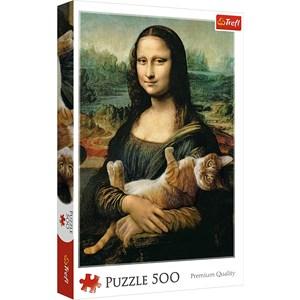 "Trefl (37294) - Leonardo Da Vinci: ""Mona Lisa and purring kitty"" - 500 pièces"