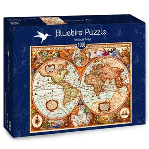 "Bluebird Puzzle (70329) - Aimee Stewart: ""Vintage Map"" - 1000 pièces"