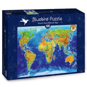 "Bluebird Puzzle (70337) - Adrian Chesterman: ""World Geo-Political Map"" - 1000 pièces"