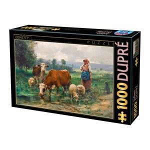 """D-Toys (74164) - Julien Dupre: """"Bergère avec son Troupeau"""" - 1000 pièces"""
