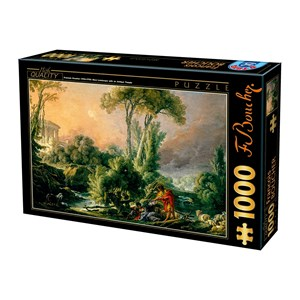 """D-Toys (74980) - François Boucher: """"Paysage Fluvial avec Temple Antique"""" - 1000 pièces"""