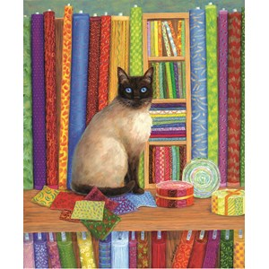 """SunsOut (31616) - Linda Elliott: """"Quilt Shop Cat"""" - 1000 pièces"""