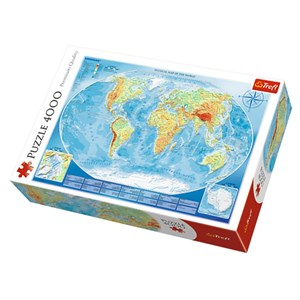 "Trefl (45007) - ""Physical Map of the World"" - 4000 pièces"