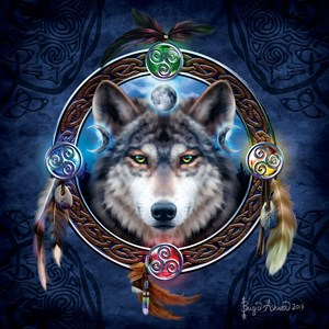 """SunsOut (20106) - Brigid Ashwood: """"Celtic Wolf Guide"""" - 1000 pièces"""