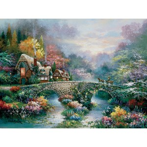 """SunsOut (18030) - James Lee: """"Peaceful Cottage"""" - 1000 pièces"""
