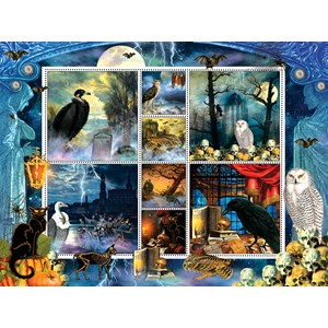 "SunsOut (55926) - Finchley Paper Arts: ""Halloween Stamps Spooky"" - 1000 pièces"