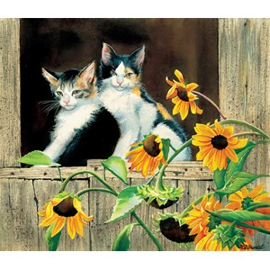 "SunsOut (28975) - Susan Bourdet: ""Kittens and Sunflowers"" - 550 pièces"