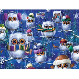 """SunsOut (63419) - Janet Stever: """"Night Owls with Hats"""" - 500 pièces"""