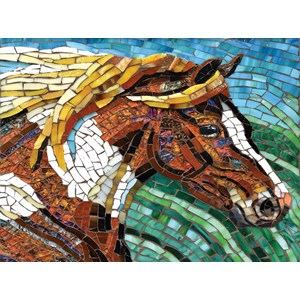 """SunsOut (70701) - Cynthie Fisher: """"Stained Glass Horse"""" - 1000 pièces"""