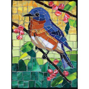 """SunsOut (70716) - Cynthie Fisher: """"Stained Glass Bluebird"""" - 1000 pièces"""
