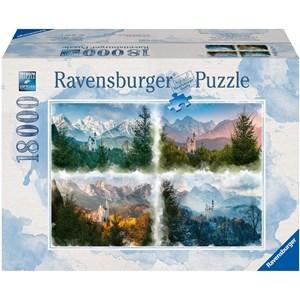 """Ravensburger (16137) - """"Fairy Castle in 4 Seasons (Neuschwanstein)"""" - 18000 pièces"""