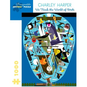 """Pomegranate (aa1056) - Charley Harper: """"We Think the World of Birds"""" - 1000 pièces"""
