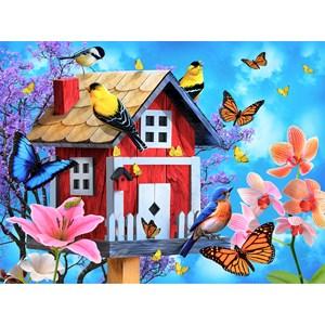 """SunsOut (49044) - Jerry Gadamus: """"Red Birdhouse"""" - 1000 pièces"""