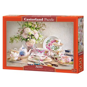 """Castorland (B-53384) - """"Still Life with Porcelain and Flowers"""" - 500 pièces"""