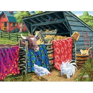 """SunsOut (38946) - Joseph Burgess: """"Quilt Cow"""" - 300 pièces"""