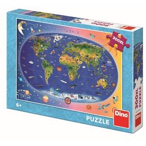 """Dino (47213) - """"Carte du Monde pour Enfants (en anglais)"""" - 300 pièces"""