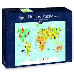 "Bluebird Puzzle (70357) - Olga Utchenko: ""World Map for Kids"" - 150 pièces"