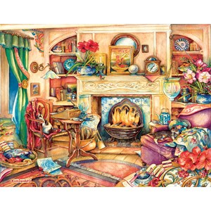 """SunsOut (23447) - Kim Jacobs: """"Fireside Embroidery"""" - 1000 pièces"""