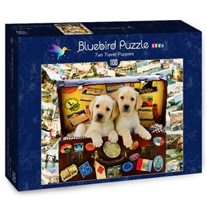 "Bluebird Puzzle (70398) - Greg Cuddiford: ""Two Travel Puppies"" - 100 pièces"