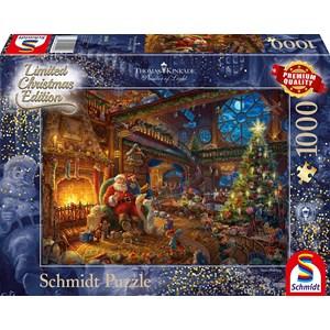 "Schmidt Spiele (59494) - Thomas Kinkade: ""Santa Claus and His Secret Helper"" - 1000 pièces"