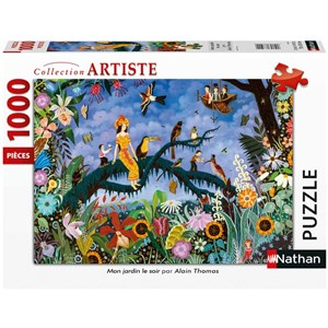 "Nathan (87633) - Alain Thomas: ""Mon Jardin Le Soir"" - 1000 pièces"