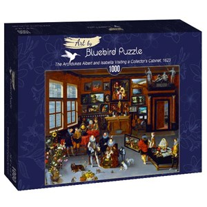 """Bluebird Puzzle (art-by--60077) - Hieronymus Francken Iicirca: """"The Archdukes Albert and Isabella Visiting a Collector's Cabinet, 1623"""" - 1000 pièces"""