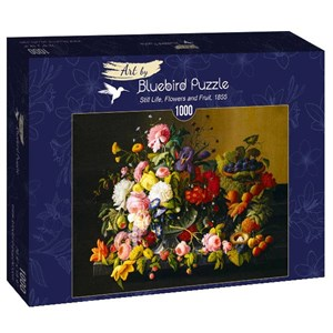 """Bluebird Puzzle (60030) - Severin Roesen: """"Still Life, Flowers and Fruit, 1855"""" - 1000 pièces"""
