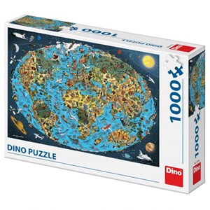 """Dino (53281) - """"Illustrated World Map"""" - 1000 pièces"""
